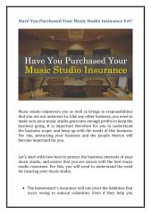 Have You Purchased Your Music Studio Insurance Yet.pdf