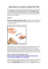 Hand Care (Skincare) Market in India.docx