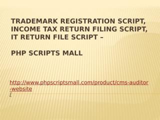 Trademark Registration Script, Income Tax Return Filing.pptx