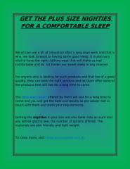 GET THE PLUS SIZE NIGHTIES FOR A COMFORTABLE SLEEP.pdf