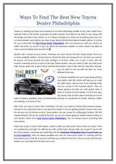 Ways To Find The Best New Toyota Dealer Philadelphia.doc