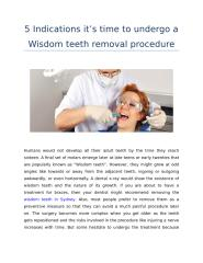 5 Indications it's time to undergo a Wisdom teeth removal procedure.docx