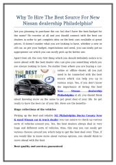 Why To Hire The Best Source For New Nissan dealership Philadelphia.doc